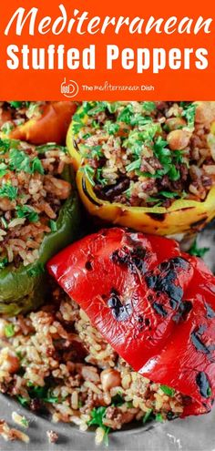 Stuffed Bell Peppers Mediterranean Style The Mediterranean twist this stuffed bell peppers recipe takes makes it amazing! Gluten and dairy free they will WOW you! Check out my tips and step-by-step tutorial for great results! Mediterranean Dishes, Mediterranean Diet Recipes, Mediterranean Style, Beef Recipes, Vegetarian Recipes, Cooking Recipes, Healthy Recipes, Easy Recipes, Vegan Stuffed Peppers