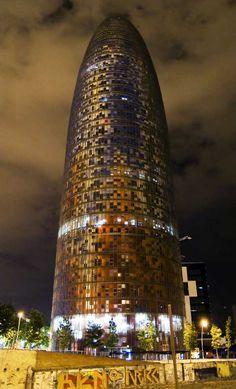 The Agbar Tower Barcelona Catalonia, Spain Barcelona Architecture, Barcelona City, Barcelona Catalonia, Barcelona Travel, Unique Architecture, Unusual Buildings, Interesting Buildings, Beautiful Buildings, Beautiful Places