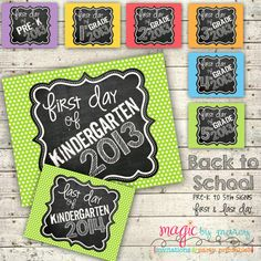 Back to school printable signs for the first and by MagicbyMarcy