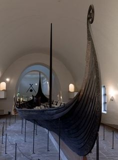 The Oseberg ship is a well-preserved Viking ship discovered in a large burial mound at the Oseberg farm near Tønsberg in Vestfold county, Norway.  The skeletons of two women were found in the grave with the ship. One, probably aged 60–70, suffered badly from arthritis and other maladies. The second was initially believed to be aged 25–30, but analysis of tooth-root translucency suggests she was older (aged 50–55). http://www.khm.uio.no/besok-oss/vikingskipshuset/