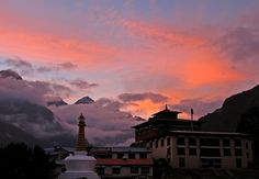 Fire in the Sky, sunset over Tengbouche Monastery in the Everest region of the Himalayas