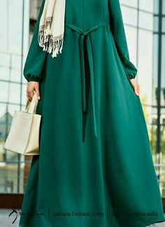 #hijab pretty modest dark green abaya