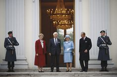 President of the Federal Republic of Germany, Richard von Weizsacker and his wife Marianne , say farewell to Queen Elizabeth II and Prince Philip at the end of the British monarch's four-day State Visit to Germany, on the steps of the Bellevue Palace in Berlin, Germany, 23 October 1992