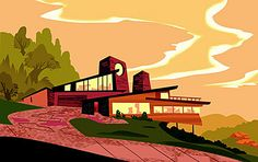 Mid Century modern illustration...  Or it could just be Kim Possible's house... XD