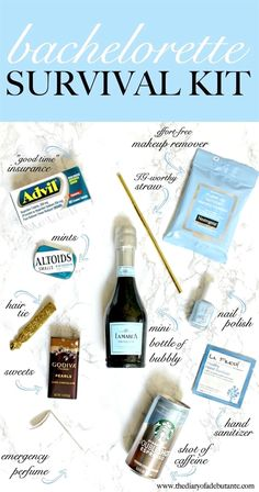 A super easy DIY Bachelorette Survival Kit! From mini bottles of champagne to pa… Ein super einfaches DIY Bachelorette Survival Bachelor Party Shirts, Bachelor Parties, Bachelorette Party Gifts, Bachelorette Weekend, Bachelorette Survival Kits, Bachelorette Party Checklist, Bachelorette Hangover Kits, Bachlorette Party Ideas Diy, Hangover Kit Wedding
