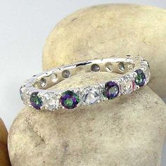 Mystic Topaz & White Topaz Silver Eternity Ring - Mystic Green Topaz and White Topaz Eternity Band in 925 Sterling Silver White Topaz, Cute Jewelry, Etsy Jewelry, Mystic Topaz, Best Diamond, Topaz Ring, Eternity Bands, Band Rings, Glow