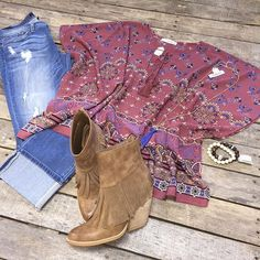 """""""#NEWARRIVALS  #Paisley #Top $39.99 S-L #FlyingMonkey #WideCuff $78.99 25-29 #Volatile #Khloe #Booties $76.99 6-10 #Necklace $19.99 #Bracelets  We #ship! Call to order! 903.322.4316 #shopdcs #goshopdcs #shoplocal #love"""" Photo taken by @daviscountrystore on Instagram, pinned via the InstaPin iOS App! http://www.instapinapp.com (11/11/2015)"""