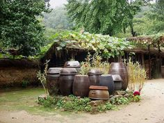 Jangdokdae (Korean: 장독대): A Korean saying states that every house's good taste comes from its Jangdokdae, which is the place where Koreans place the pots used to store fermented food. Jangdokdae is usually in the backyard near the kitchen in a high area with plenty of sunshine and good ventilation.