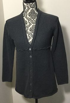 J Jill Sweater Charcoal Gray 100% Cotton Long cardigan Womens size XS #JJill #Cardigan
