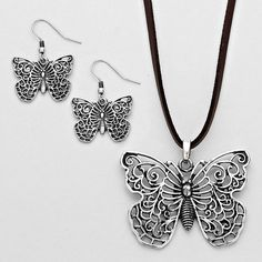 Burnished Finish Butterfly Pendant Necklace and Earring Set (htpp://wwwrusticflairpro.com)