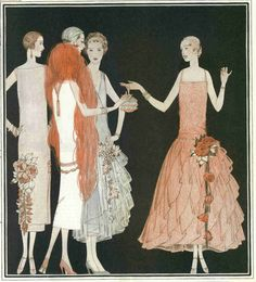 Fashion illustration from a page in the December 1924 Ladies' Home Journal magazine.