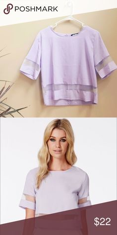 🎀 Missguided Loida Lilac Mesh Top 🎀 I'm so saddened by letting this go because this top is literally so comfty and the color is so cute, but all good things must come to an end. 😭 Anyways, this top is size UK 14 so about a size 10 in US sizes. This is for more of a true medium to large and or smaller large. It's in great condition (only worn a handful of times) and was usually washed by hand to prevent any snags. The retail price for this is 36$ and it's sold out on the Missguided…