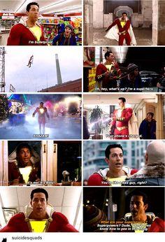 Shazam! movie #trailer Dc Comics Heroes, Marvel Dc Comics, Marvel Heroes, Shazam Movie, Captain Marvel Shazam, Cw Dc, Zachary Levi, Dc Movies, Tv Show Quotes
