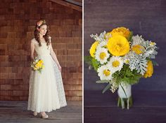 """""""The yellow bouquet was made with yellow ranunculus, white matsumoto flowers, fever few, rice flower, dusty miller and eucalyptus leaves with seed pods"""" Love this combo!"""
