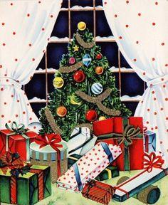 vintage Christmas tree & gifts