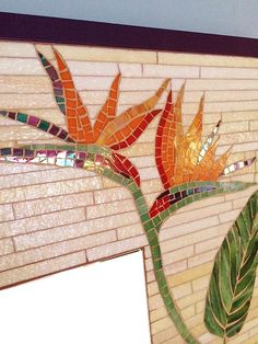 This item is not available - Bird of paradise mirror mosaic framed wall by BellasArtMosaics… More - Mosaic Garden Art, Mosaic Pots, Mosaic Wall Art, Mirror Mosaic, Mosaic Glass, Mosaic Tiles, Glass Art, Mosaics, Mosaic Crafts