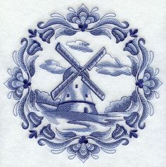 Machine Embroidery Designs at Embroidery Library! - A Delft Blue Medallions Design Pack - Lg Windmill Tattoo, Windmill Drawing, Machine Embroidery Designs, Embroidery Patterns, Jacobean Embroidery, Dutch Tattoo, Blue Tattoo, Embroidered Quilts, Blue And White China