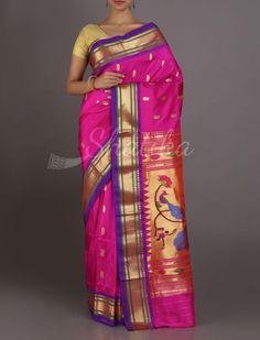Dina Plush Pink Oblique Border Mor Pallu Real Zari #PaithaniSilkSaree
