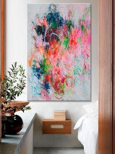original large abstract painting floral bold por ElenasArtStudio