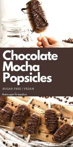 Sugar Free Chocolate Mocha Popsicles, a tasty dessert or snack recipe for mocha coffee popsicles that have no added sugar. Vegan Dessert Recipes, Delicious Desserts, Snack Recipes, Baking Recipes, Frozen Chocolate, Sugar Free Chocolate, Chocolate Desserts, Party Desserts, Frozen Desserts
