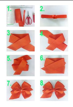 How to make ribbon bow? 8 tips to make a 5 inch hair bow. Step 1. Tools and materials Step 2. Make bow knot Step 3. Cut 4 cm width ribbon by slanting cut and heat sealed. Keep the ribbon span 5 inch and make a across as tip 3. Step 4. Folding the ribbon as tip 5 and adjust into tip 6 Step 5. Use the thread sewing like tip 7 to make a bow Step 6. Sewing the bow knot on the bow and add elastic band, clips or headband.