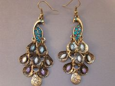 eBracelets Blue Crystal Bronze Peacock Earrings Charm, Leather, Wrap Bracelets