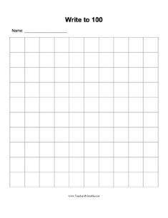 A blank grid in which students can practice writing the numbers from 1 to 100. Free to download and print
