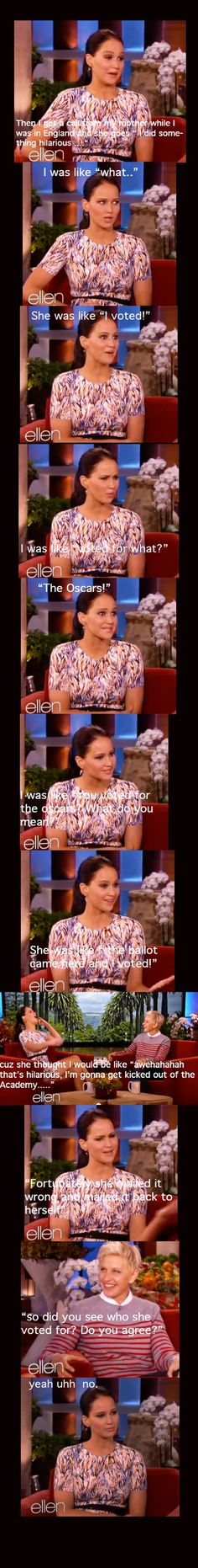 Jennifer Lawrence Interview with Ellen haha