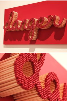 pei san ng text sculpture made with matches handmade design typography - cakerecipespins. Art Projects, Projects To Try, Diy And Crafts, Arts And Crafts, 3d Typography, Lettering, Creation Deco, Brad Pitt, Word Art