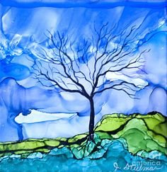 Alcohol Ink Painting - Blue Tree by Jane Steelman