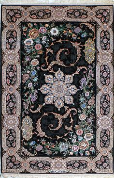 Isfahan Black Persian Silk Rug 5x8-6x8 | by www.tableaurug.com