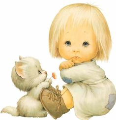 Ruth Morehead poster, addition to the collection? Cute Images, Cute Pictures, Precious Moments, Cute Illustration, Cat Art, Cute Drawings, Baby Quilts, Cute Kids, Illustrators