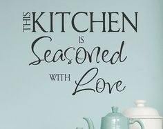 Kitchen Vinyl Wall Decal- Kitchen the Heart of the Home- Lettering Decor Sticky Vinyl Flooring Kitchen, Kitchen Vinyl, Kitchen Wall Decals, Kitchen Wall Quotes, Kitchen Stickers, Removable Vinyl Wall Decals, Stencils For Wood Signs, Vinyl Decor, Home Quotes And Sayings
