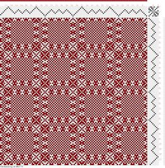 draft image: Threading Draft from Divisional Profile, Tieup: 16 Harness Patterns - The Fanciest Twills of All, Draft #34709, 8S, 8T