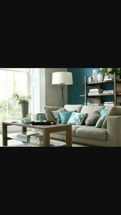 Estilo Home: Blue Accent Walls Taupe Sofa, Taupe Walls, Blue Accent Walls, Navy Living Rooms, Living Room Colors, Living Room Modern, Living Room Decor, Blue Feature Wall, Feature Wall Living Room
