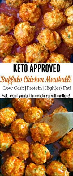 Keto Buffalo Chicken Meatballs! Eating the keto way? Don't give up your favorite foods! We love wings on keto, but I like to change it up a bit with these keto buffalo chicken meatballs! recipes, low carb, high fat, ketosis, meatballs.: