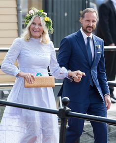 CP Mette Marit and CP Haakon on 23 June 2016 - Norwegian Royal Jubilee Tour: the Danish Royal Family attends a Garden party in Trondheim, Norway
