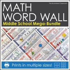 Word Wall for Middle School Math. Over 240 cards! On sale!