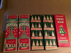 5 boxes vintage icicles 2 everbrite silver ribbon 2 doubl-glo 1 tinsel rain