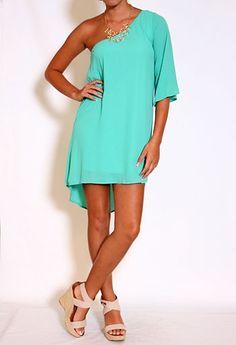 One Shoulder Hi-Low Dress - HOT Color! #Fashion #Dress