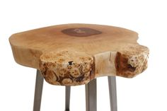 Stool, model name: X-Raw. Material: Birch tree and Steel