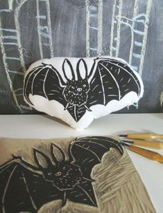 Plush Bat Pillow. Hand Woodblock Printed by LauraFrisk