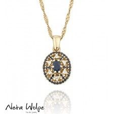 Star of David Diamond and Sapphire 14k Gold Necklace