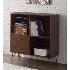 Retro Clarence Media Bookshelf Console (Record Storage)