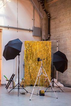 Gold Industrial Photo Booth | Brit + Co. | via Ruffled | #goldweddings #weddings