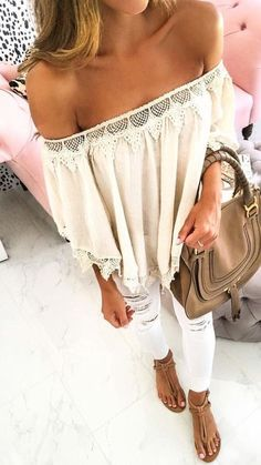 #spring #outfits White Crochet Off The Shoulder Blouse + White Ripped Skinny Jeans
