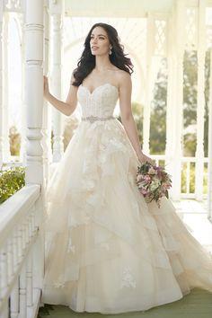 Martina Liana 821 - A-ligne bretelles robe de mariée avec corsage chérie