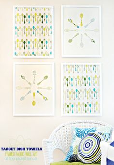 How to make framed fabric wall art from @Target threshold kitchen towels