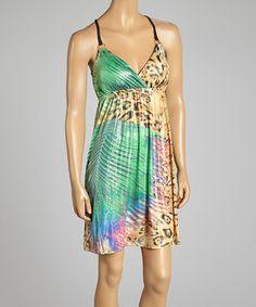 Shoreline Green Leopard Sleeveless Surplice Dress by Shoreline #zulily #zulilyfinds
