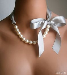 Pearl And Ribbon Necklace